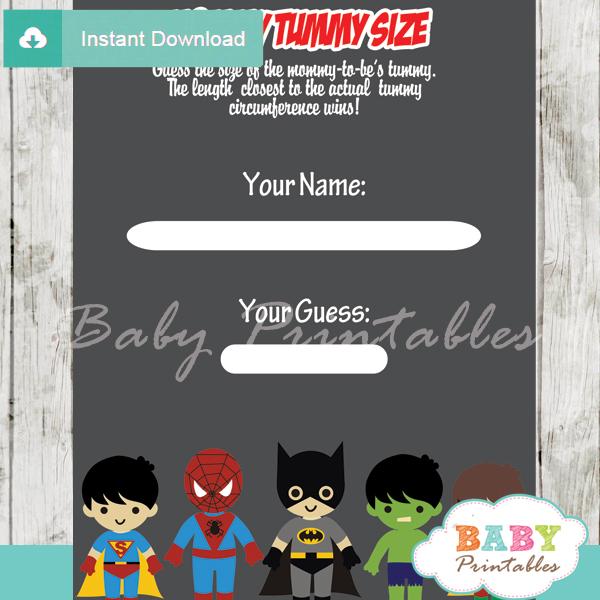 boy superhero printable measure the belly baby shower game