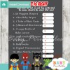 boy superhero Price is Right Baby Shower Games printable pdf