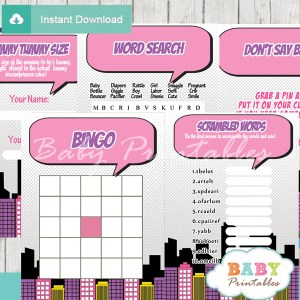 printable comic book girls baby shower fun games ideas