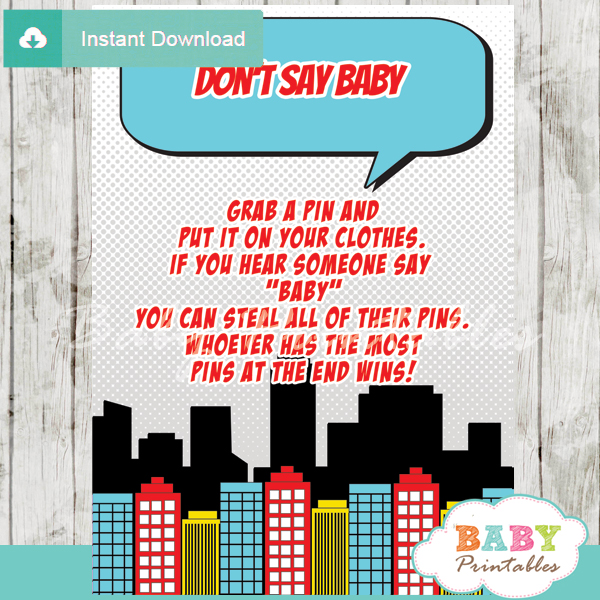 boy comic book superhero printable game Dont Say Baby pdf