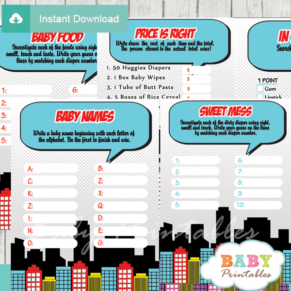 printable comic book superhero baby shower games package