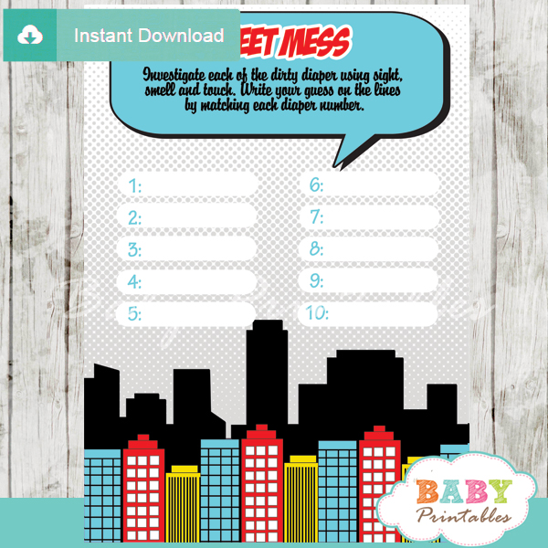 printable boy comic book Baby Shower Game Guess the Sweet Mess Dirty Diaper