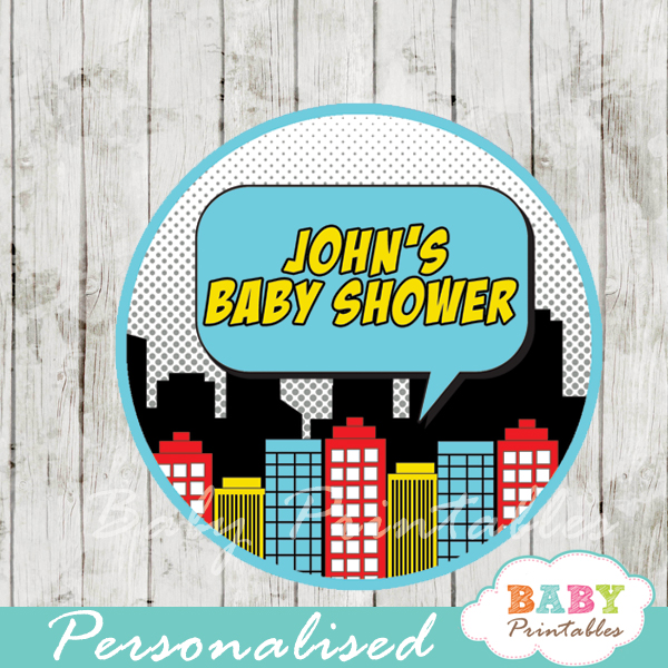 printable superhero comic book boys personalized favor tags toppers