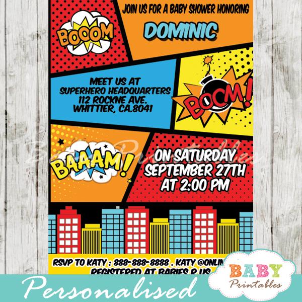 printable retro comic book boys baby shower invitation personalized