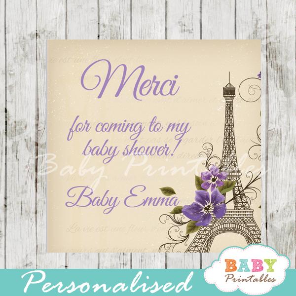 printable paris eiffel tower purple floral vintage favor gift tags
