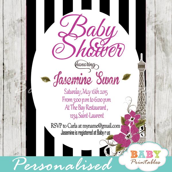 black white stripes printable Paris Eiffel tower baby shower invitation personalized
