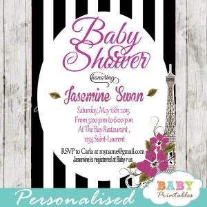 black white stripes printable Paris Eiffel tower baby shower invitation personalized