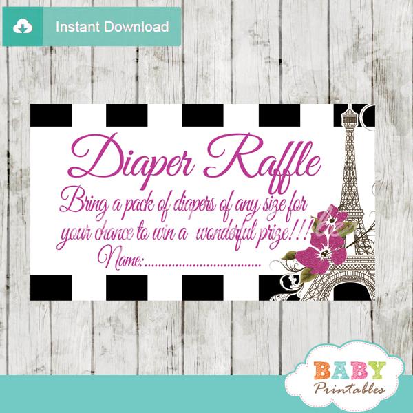 black white stripes printable paris eiffel tower vintage diaper raffle game cards baby shower