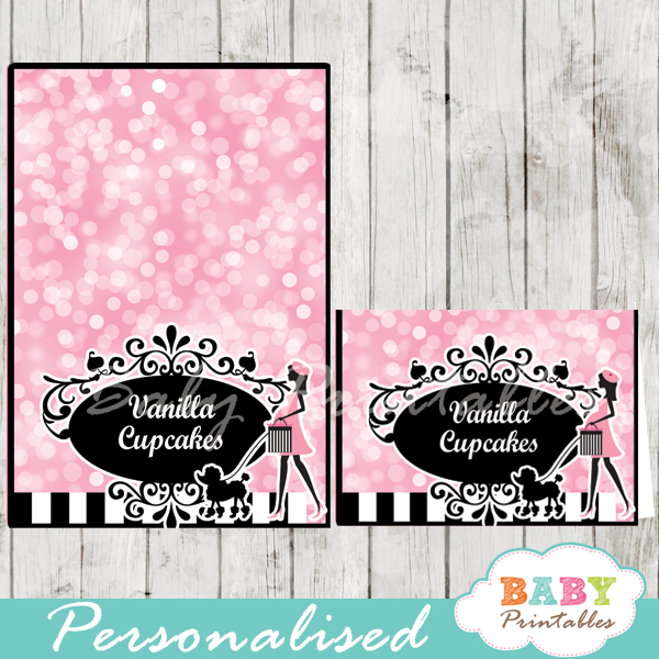 printable french paris poodle personalized food label cards
