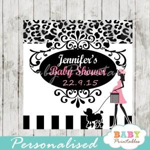 animal print printable pink paris poodle favor gift tags