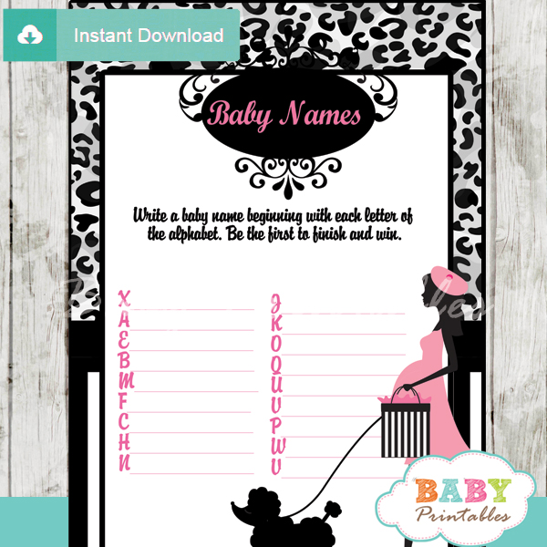 french pink paris poodle printable Name Race Baby Shower Game cards