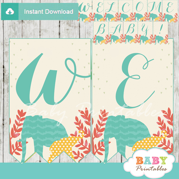 jungle theme baby shower banner