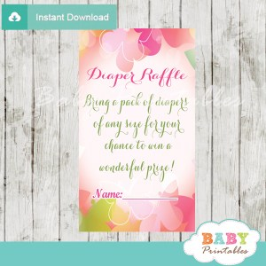 printable garden butterfly diaper raffle game cards baby shower
