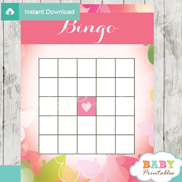 spring butterflies bingo games to play at a baby shower