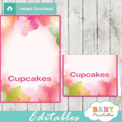 pink green printable butterfly editable food label cards