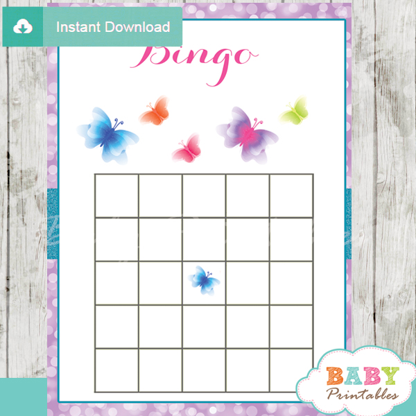 purple butterflies bingo games to play at a baby shower
