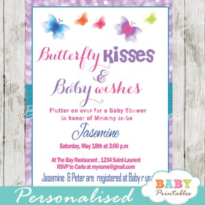 purple butterfly baby shower invitations