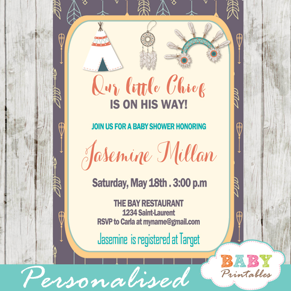Native American Baby Shower Invitation Tribal Arrows