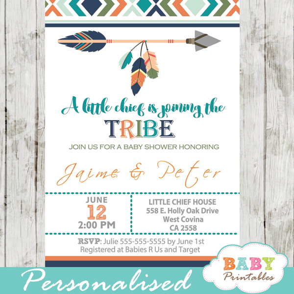 Tribal Baby Shower Invitation For Boys Boho Arrow D242