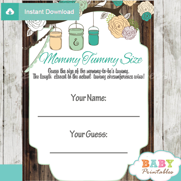 baby shower mason jar games guess mommy tummy size