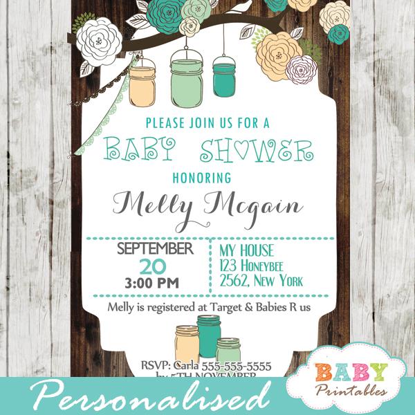 Rustic Country Mason Jar Baby Shower