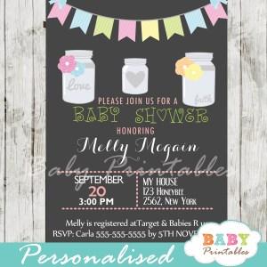 floral modern chalkboard mason jar baby shower invitations