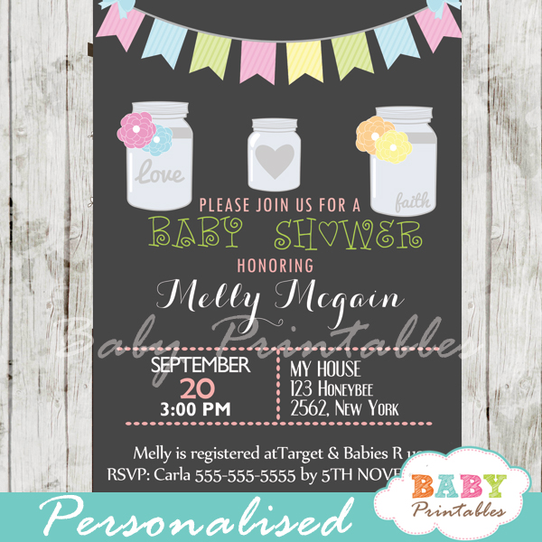 floral modern chalkboard mason jar baby shower invitations