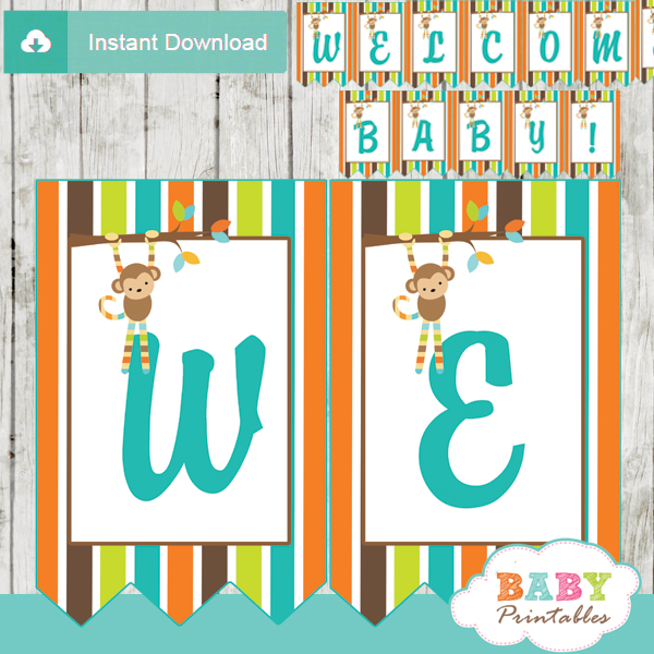 personalized monkey baby shower banner diy