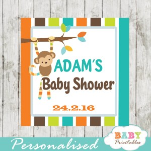 monkey printable baby shower gift tags