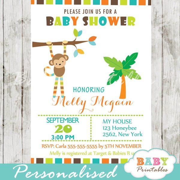Monkey Themed Baby Shower Invitation