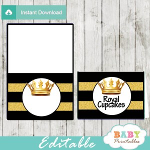black and gold royal baby shower food labels