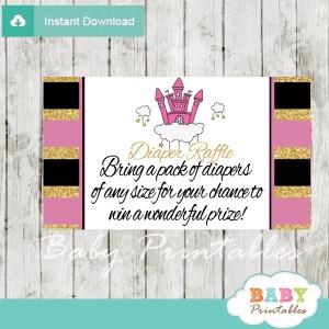 pink castle princess diaper raffle tickets