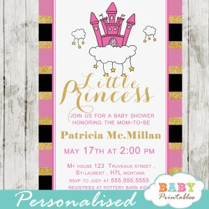 pink princess baby shower invitations