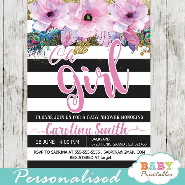 Pink Fl Baby Shower Invitations