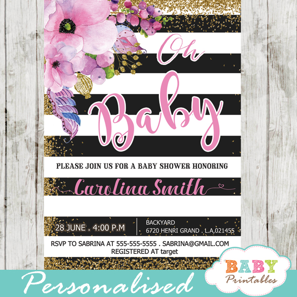 Pink floral baby shower invitations gold glitter black and white gold glitter floral themes spring baby shower invitations pink flowers black and white striped filmwisefo Images