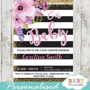 gold glitter floral themes spring baby shower invitations pink flowers black and white striped