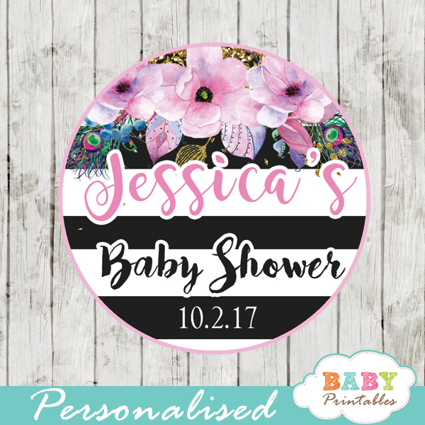 custom baby shower favor tags pink floral watercolor black white striped toppers
