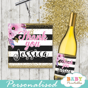 watercolor pink floral spring square gift tags custom wine labels