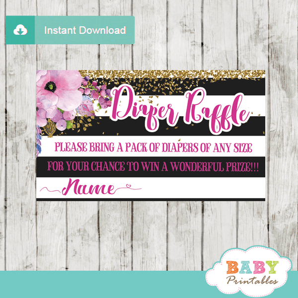 watercolor pink floral diaper raffle tickets black and white stripes gold glitter