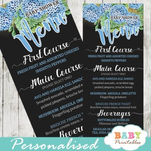 blue hydrangea floral garden baby shower menu cards gold glitter food ideas