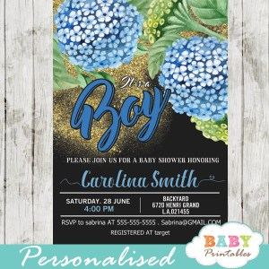 blue hydrangea floral baby shower invitations spring flowers green black and gold glitter it's a boy