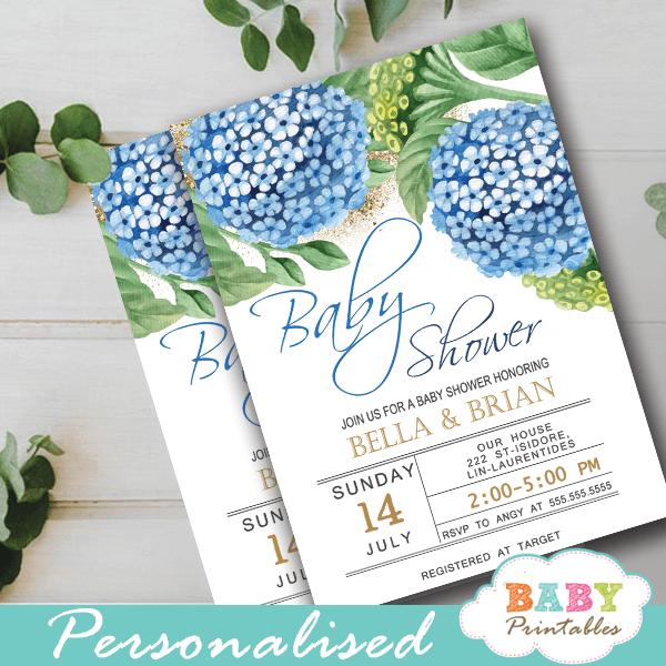 Blue Hydrangea Fl Baby Shower Invitations D305