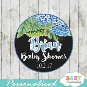 custom baby shower favor tags watercolor blue hydrangea floral toppers gold sparkle boy
