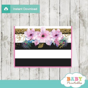 pink floral baby shower food labels custom ideas