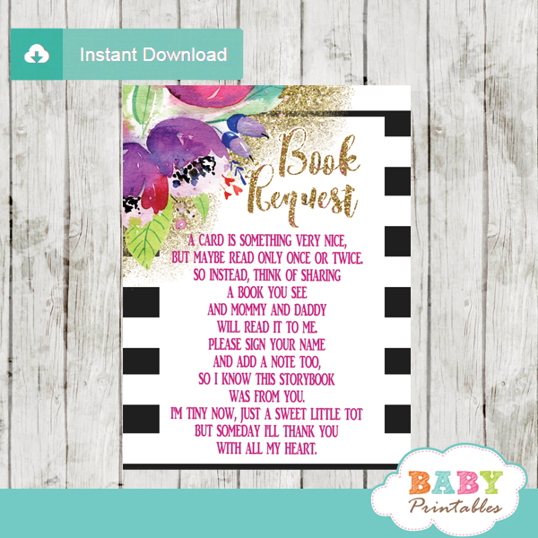 lavender watercolor purple floral black and white striped book request cards invitation inserts gold glitter