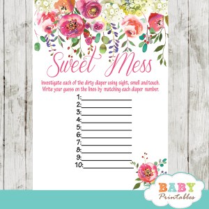 watercolor pink white garden flowers baby shower games spring theme sweet mess