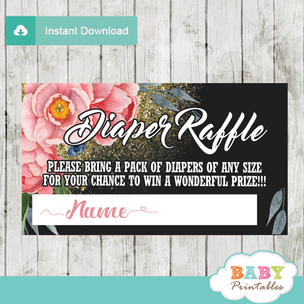 watercolor pink peony flowers diaper raffle tickets gold sprinkles