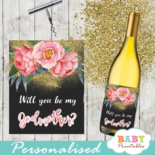 spring garden watercolor pink peony floral spring square gift tags custom wine labels gold glitter