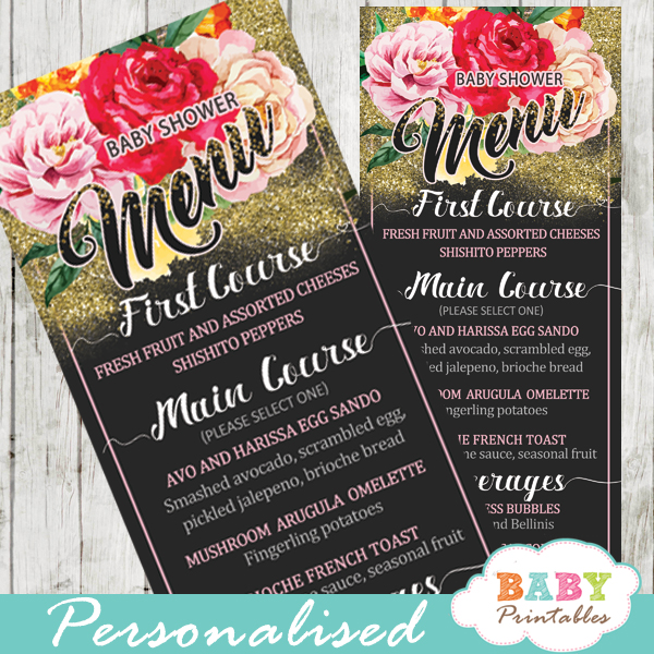 pink yellow orange roses floral garden baby shower menu cards gold glitter food ideas