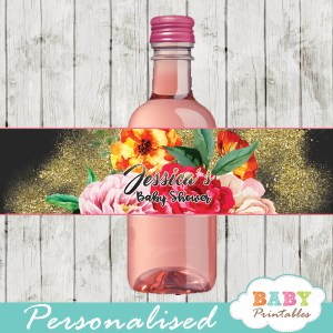 pink yellow orange roses watercolor flowers water bottle wrappers gold glitter sparkle spring garden girl